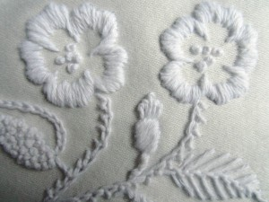 Flowers in Mountmellick embroidery
