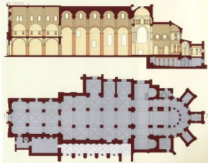 Floor plans of Tournus church