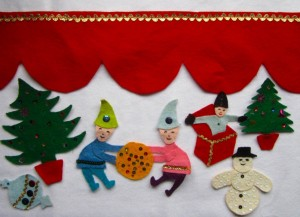Christmas felt figures trimmed + red