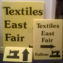 Sign for Textiles East Fair
